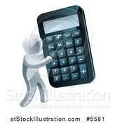 Vector Illustration of a 3d Silver Man Holding a Giant Calculator by AtStockIllustration