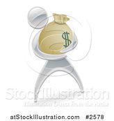 Vector Illustration of a 3d Silver Man Holding a Money Sack by AtStockIllustration