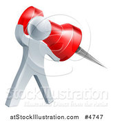 Vector Illustration of a 3d Silver Man Holding a Pin by AtStockIllustration