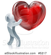 Vector Illustration of a 3d Silver Man Holding a Red Heart by AtStockIllustration