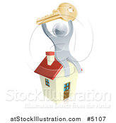 Vector Illustration of a 3d Silver Man Holding up a Key and Sitting on a House by AtStockIllustration