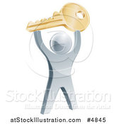 Vector Illustration of a 3d Silver Man Holding up a Key by AtStockIllustration