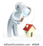 Vector Illustration of a 3d Silver Man House Hunting by AtStockIllustration