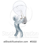 Vector Illustration of a 3d Silver Man Inventor Holding up a Light Bulb by AtStockIllustration