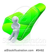 Vector Illustration of a 3d Silver Man Leaning Against a Green Check Mark by AtStockIllustration