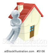 Vector Illustration of a 3d Silver Man Leaning Against a House by AtStockIllustration