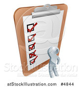 Vector Illustration of a 3d Silver Man Looking at a Large Survey Clipboard by AtStockIllustration