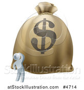 Vector Illustration of a 3d Silver Man Looking up at a Big Dollar Money Bag by AtStockIllustration