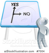 Vector Illustration of a 3d Silver Man Looking up at a Big Yes and No Billboard Sign and Thinking on Which Direction to Go by AtStockIllustration