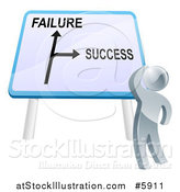 Vector Illustration of a 3d Silver Man Looking up at a Failure or Success Directional Sign by AtStockIllustration
