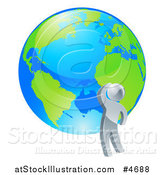 Vector Illustration of a 3d Silver Man Looking up at a Globe by AtStockIllustration