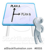 Vector Illustration of a 3d Silver Man Looking up at a Plan a or Plan B Sign by AtStockIllustration