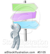 Vector Illustration of a 3d Silver Man Looking up at Colorful Crossroads Signs by AtStockIllustration