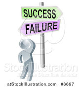 Vector Illustration of a 3d Silver Man Looking up at Failure and Success Arrow Signs by AtStockIllustration