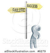 Vector Illustration of a 3d Silver Man Looking up at Failure and Success Option Street Signs by AtStockIllustration