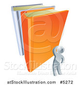 Vector Illustration of a 3d Silver Man Looking up at Giant Books by AtStockIllustration
