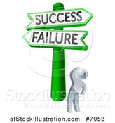 Vector Illustration of a 3d Silver Man Looking up at Green and White Failure and Success Arrow Signs by AtStockIllustration