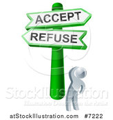 Vector Illustration of a 3d Silver Man Looking up at Green and White Refuse and Accept Street Signs by AtStockIllustration
