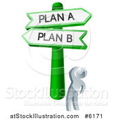 Vector Illustration of a 3d Silver Man Looking up at Plan a or B Crossroad Signs by AtStockIllustration