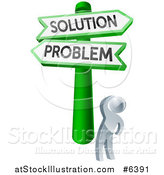 Vector Illustration of a 3d Silver Man Looking up at Problem and Solution Crossroads Signs by AtStockIllustration