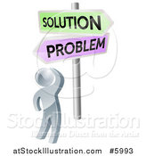 Vector Illustration of a 3d Silver Man Looking up at Problem and Solution Signs by AtStockIllustration