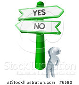 Vector Illustration of a 3d Silver Man Looking up at Yes and No Road Signs and Thinking on Which Direction to Go by AtStockIllustration