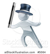 Vector Illustration of a 3d Silver Man Magician by AtStockIllustration