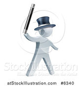 Vector Illustration of a 3d Silver Man Magician Holding up a Wand and Wearing a Top Hat by AtStockIllustration