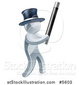 Vector Illustration of a 3d Silver Man Magician Using a Baton Wand by AtStockIllustration