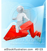 Vector Illustration of a 3d Silver Man on a Red Arrow over Blue and a Chart by AtStockIllustration