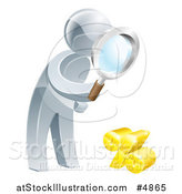 Vector Illustration of a 3d Silver Man Peering Through a Magnifying Glass at a Percent Symbol by AtStockIllustration