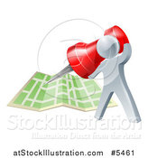 Vector Illustration of a 3d Silver Man Pinning a Location on a Map by AtStockIllustration