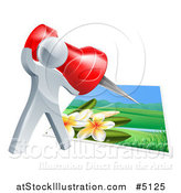 Vector Illustration of a 3d Silver Man Pinning a Photograph by AtStockIllustration