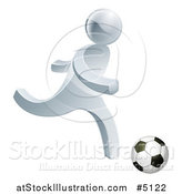Vector Illustration of a 3d Silver Man Playing Soccer by AtStockIllustration
