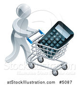 Vector Illustration of a 3d Silver Man Pushing a Calculator in a Shopping Cart by AtStockIllustration