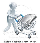 Vector Illustration of a 3d Silver Man Pushing a Computer Mouse in a Shopping Cart by AtStockIllustration