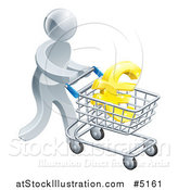 Vector Illustration of a 3d Silver Man Pushing a Euro in a Shopping Cart by AtStockIllustration