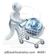 Vector Illustration of a 3d Silver Man Pushing a Globe in a Shopping Cart by AtStockIllustration