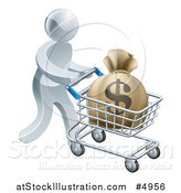 Vector Illustration of a 3d Silver Man Pushing a Money Bag in a Shopping Cart by AtStockIllustration