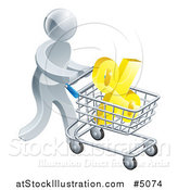 Vector Illustration of a 3d Silver Man Pushing a Percent Symbol in a Shopping Cart by AtStockIllustration