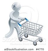 Vector Illustration of a 3d Silver Man Pushing a Shopping Cart by AtStockIllustration