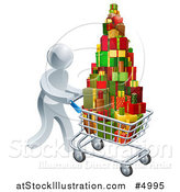 Vector Illustration of a 3d Silver Man Pushing a Shopping Cart Full of Presents by AtStockIllustration