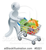 Vector Illustration of a 3d Silver Man Pushing a Shopping Cart Full of Produce by AtStockIllustration