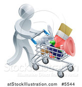 Vector Illustration of a 3d Silver Man Pushing a Shopping Cart Packed with Tools by AtStockIllustration