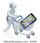Vector Illustration of a 3d Silver Man Pushing a Smart Phone in a Shopping Cart by AtStockIllustration