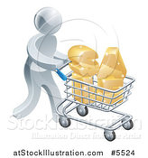 Vector Illustration of a 3d Silver Man Pushing SALE in a Shopping Cart by AtStockIllustration
