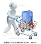 Vector Illustration of a 3d Silver Man Pushing Travel Accessories in a Shopping Cart by AtStockIllustration