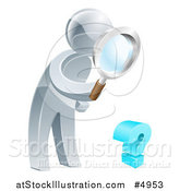 Vector Illustration of a 3d Silver Man Searching for Answers with a Magnifying Glass by AtStockIllustration