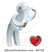 Vector Illustration of a 3d Silver Man Searching for Love by AtStockIllustration