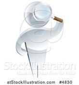 Vector Illustration of a 3d Silver Man Searching Through a Magnifying Glass by AtStockIllustration